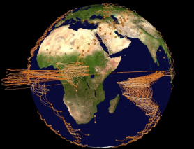 3D visualization of a climate network on a virtual globe by GTX